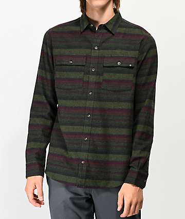 Dravus Malachi Woven Striped Green Flannel Shirt