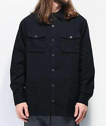 Dravus Modem Black Long Sleeve Button Up Shirt