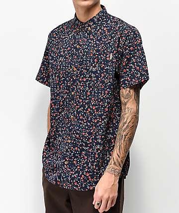 Dravus Ritz Navy Short Sleeve Button Up T-Shirt