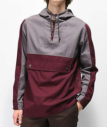 Dravus Slick Grey & Burgundy Anorak Jacket