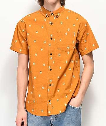 Dravus Theodore Gold Woven Short Sleeve Button Up Shirt