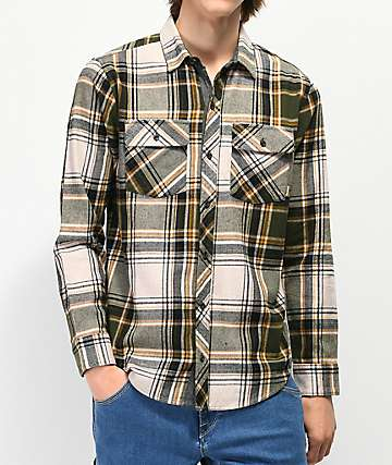 Dravus Travis Oatmeal & Green Flannel Shirt