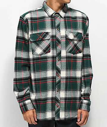Dravus Willy Green, White & Black Flannel Shirt