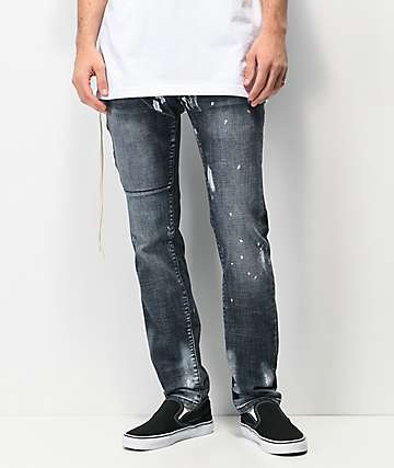 Dript Denim D.044 Side Zip Dark Blue Skinny Jeans