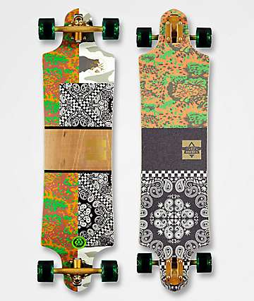 "Dusters Banner 38"" Camo & Orange Drop Down Longboard Complete"