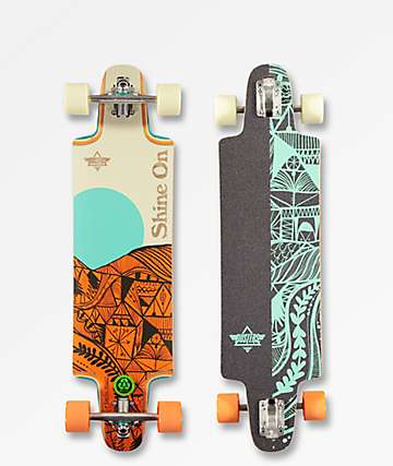 "Dusters Shine 36"" Orange Drop Through Longboard Complete"