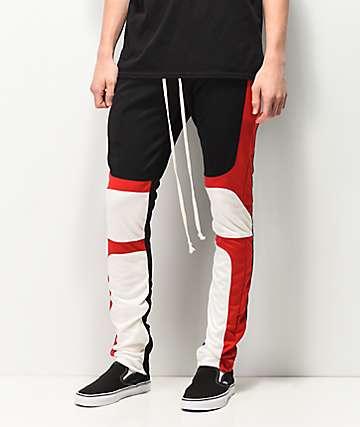EPTM Black, Red & White Moto Track Pants
