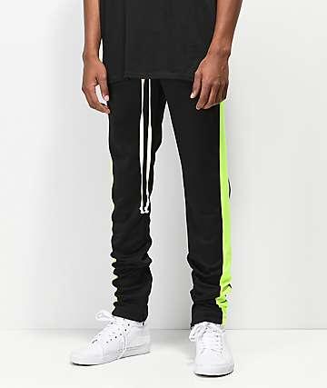 EPTM pantalones de chándal de rayas verdes neón