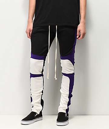 EPTM pantalones de moto morados, negros y blancos