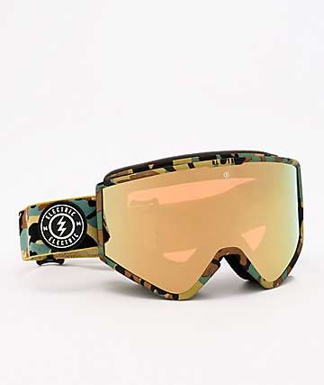 Electric Kleveland Camo & Gold Chrome Snowboard Goggles