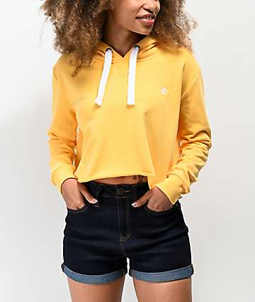 Element Peek Banana Marigold Raw Edged Crop Hoodie