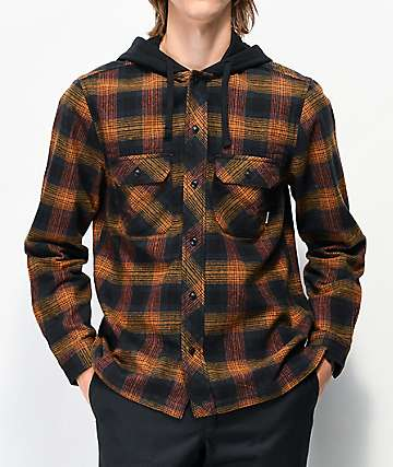 Element Wentworth Brown Hooded Flannel Shirt