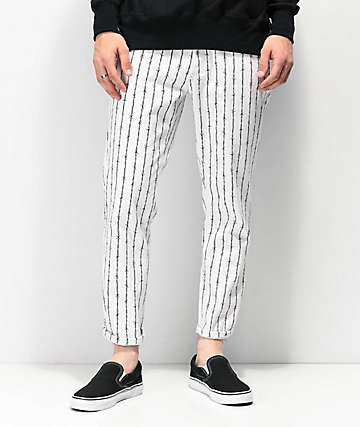 Elwood Barbed Wire jeans cortos blancos a rayas