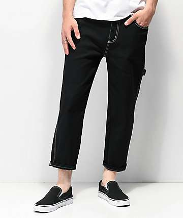 Elwood Jet Black & Contrast Stitched Cropped Carpenter Jeans
