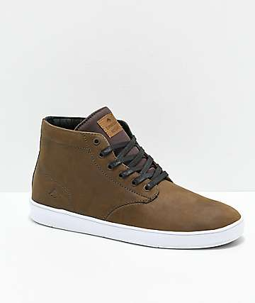 Emerica Romero Laced Brown & Bone White Leather Hi Top Skate Shoes