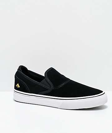 Emerica Wino G6 Black & White Slip-On Skate Shoes