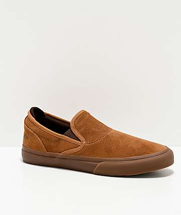 Emerica Wino G6 Brown Slip-On Skate Shoes