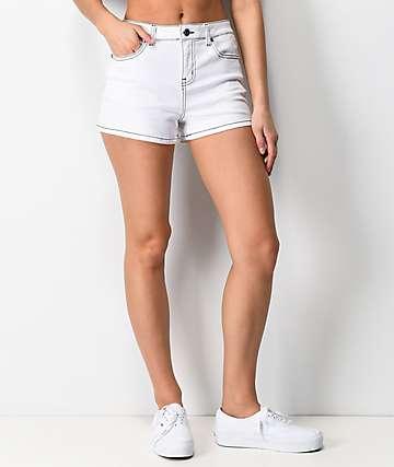 Empyre Adrian Pop Stitch shorts de mezclilla blanca