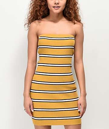 Empyre Aisley Black & Yellow Striped Strapless Dress