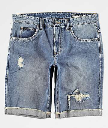 Empyre Albany Blue Destroyed Denim Shorts