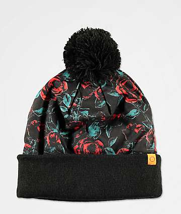 Empyre Anara Rose Black Pom Beanie