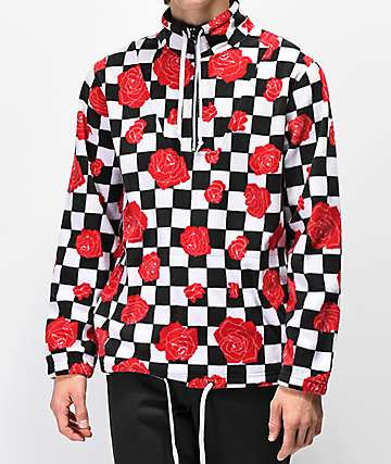 Empyre Aspen Checker Rose Half Zip Tech Fleece