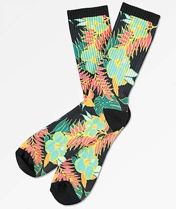 Empyre Bonbon Floral Black Crew Socks