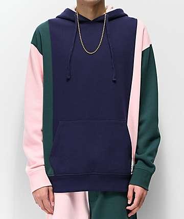 Empyre Bonkers Navy, Pink & Green Colorblock Hoodie