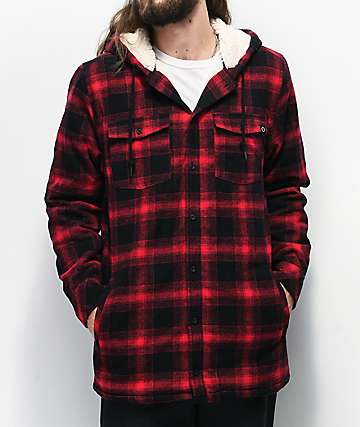 Empyre Cain Black & Red Hooded Flannel Shirt