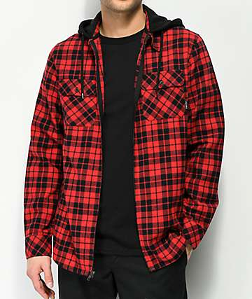 Empyre Chancer Red & Black Zip Hooded Flannel Shirt
