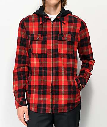 Empyre Chancer Red Hooded Flannel Shirt