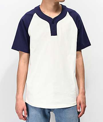 Empyre Change Up Cream & Navy Henley T-Shirt