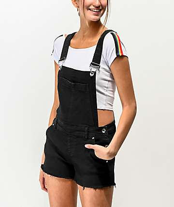 Empyre Cora Black Denim Overall Shorts
