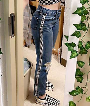 Empyre Eileen Checkerboard Striped Light Wash Mom Jeans