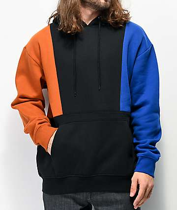 Empyre Fast Break Black, Blue & Brown Colorblock Hoodie