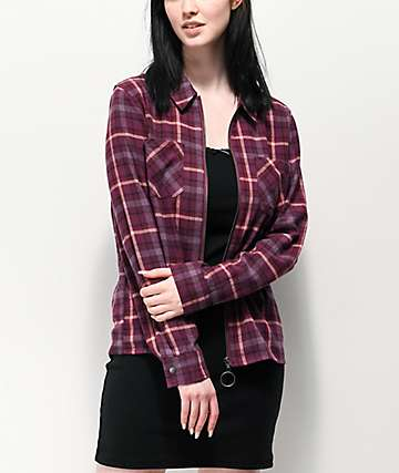 Empyre Fir Burgundy Zip Front Flannel Shirt