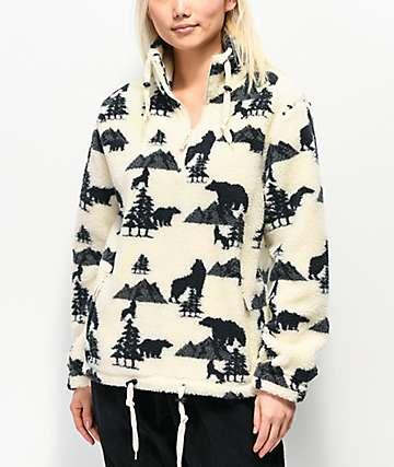 Empyre Fjord Cream Half Zip Fleece Sweatshirt