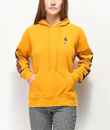 Empyre Fredia Rose Sleeve Yellow Hoodie