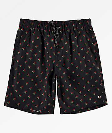 Empyre Grom Red Rose Black Elastic Waist Board Shorts