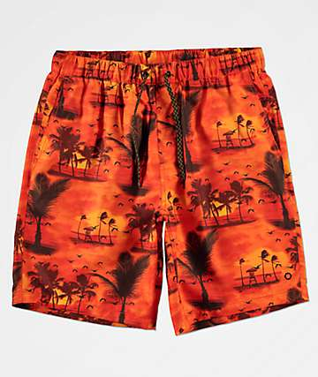 Empyre Grom Tropical shorts de baño anaranjados