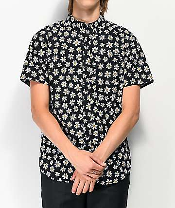 Empyre Harry Daisy Black Woven Short Sleeve Button Up Shirt