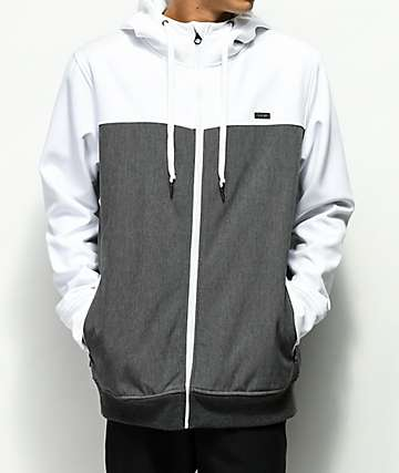 Empyre Highlights White & Charcoal Tech Fleece Hoodie