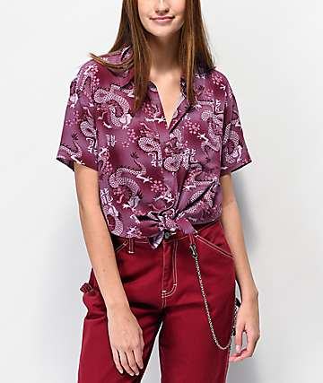 Empyre Hilo Dragons Blackberry Short Sleeve Button Up Shirt
