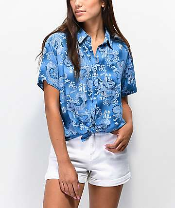 Empyre Hilo Dragons Blue Short Sleeve Button Up Shirt