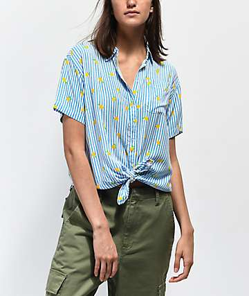 Empyre Hilo Lemon Blue & White Striped Short Sleeve Button Up Shirt