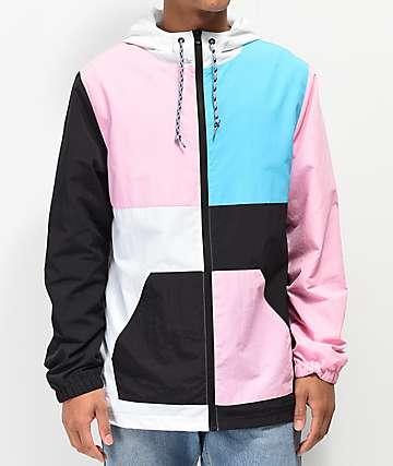 Empyre Hugo chaqueta cortavientos azul, blanca, negra y rosa