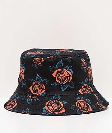 Empyre Imprint sombrero de cubo negro de rosas