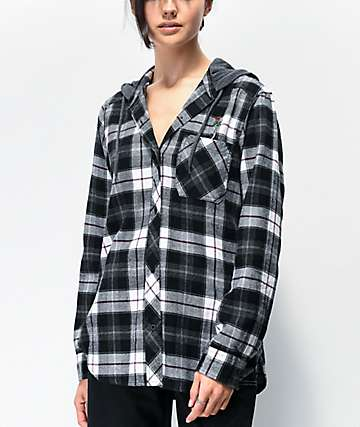 Empyre Jai Grey & White Hooded Flannel Shirt