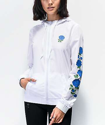 Empyre Keana Blue Rose White Windbreaker Jacket
