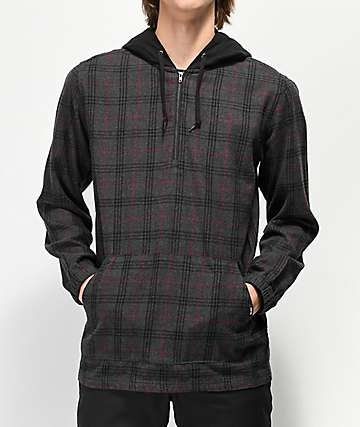 Empyre Kenney Charcoal & Black Quarter Zip Hooded Flannel Shirt